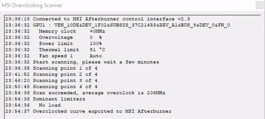 MSI overclocking scanner result